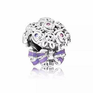 NEW•Silver Flower Bouquet w/purple bow DIY charm